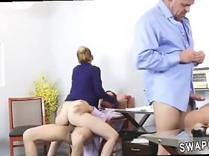 Ebony step mom catches boss's daughter